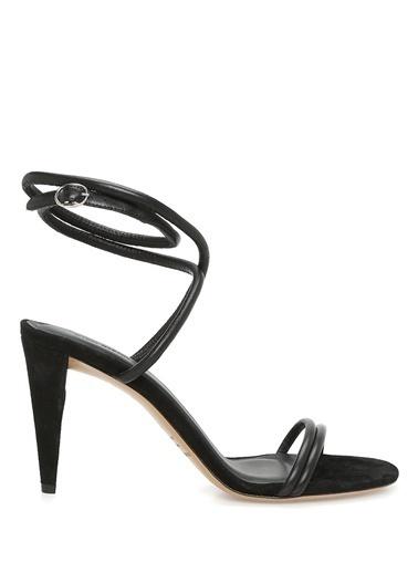 Etoile İsabel Marant İnce Topuklu %100 Deri Sandalet Siyah